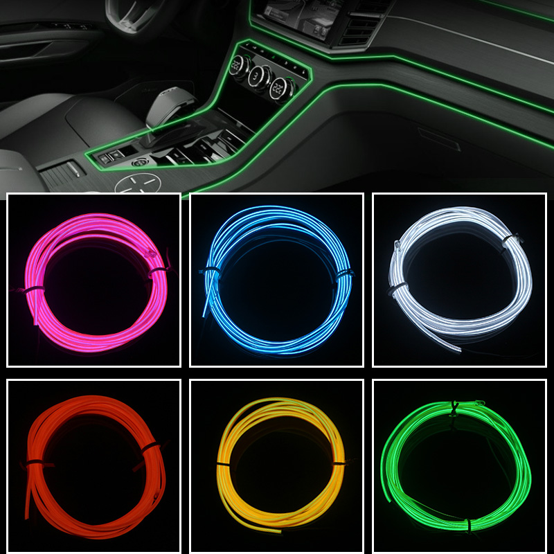 Ningbao 3M Car Interior Light Strip 12V LED Cold Lights Flexible Neon EL Wire Auto Lights Strip Line Interior Decoration Strips Lamp