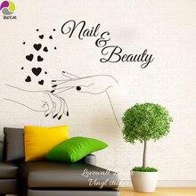 Nail Beauty Elegant Finger Heart Wall Sticker Manicure Polish Varnish Cosmeti Spa Shop Bar Wall Decal Kids Girl Room Vinyl Decor