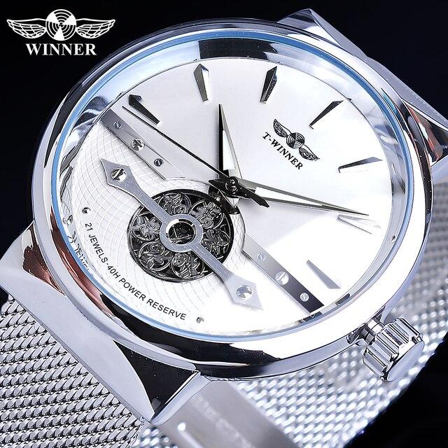 Winnaar Automatic Mens Watch Silver Eenvoudige Hollow Skeleton Slim Mesh Stalen Band Horloge Self Wind Mechanische Waterdichte Klok