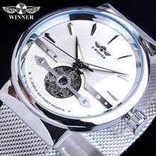 Winner automatique hommes montre argent Simple creux squelette mince maille acier bracelet montre bracelet auto vent mécanique étanche horloge