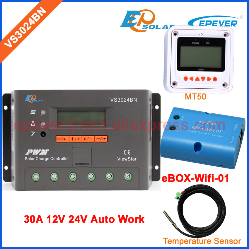 PWM 30A charger solar PV cells home system 12V 24V wifi EPsolar/EPEVER MT50 remote meter controller 30amp Temp sensor cable solar 12v battery charger for home system use controller with wifi connect funciton box ls3024b 30a 30amp mt50 remote meter