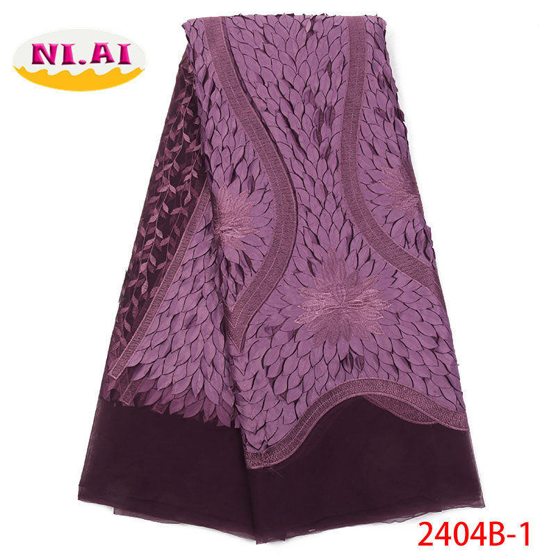 Tissu Africain Suisse Satin Lace Purple Lace Fabric Flowers For Dresses Tela Africana New Vision Lace