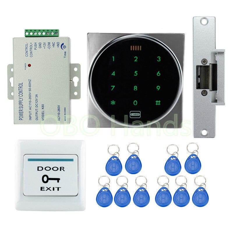ФОТО Door access control keypad system with keyless cabinet lock electronic door lock+door exit switch switch+10 RFID keychains
