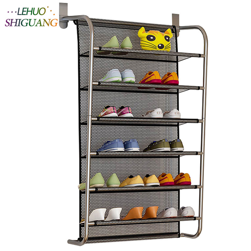 6 Tier Over The Door Shoe Organizer Hanging Shoe Storage With 2 Customized Strong Metal Hooks Closet Pantry Kitchen Accessory