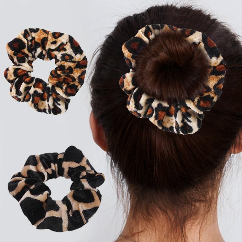 Rubber Band Soft For Women Winter Leopard Print Ponytail Accessories Girls Hair Ring Headwear Hair Rope Female Velvet Scrunchie