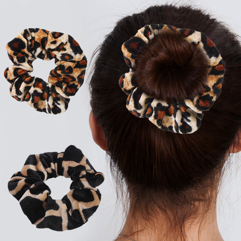 Rubber Band Soft For Women Winter Leopard Print Ponytail Accessories Girls Hair Ring   Headwear   Hair Rope Female Velvet Scrunchie