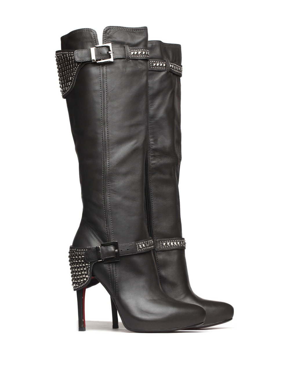Basic Editions Autumn Fall Women Genuine Leather Thin High Heel Zipper and Buckle Rivets Decoration Long Boots - A16-1521 JU232 basic editions women dark grey suede leather spike high heel chain accessories winter long boots 1105 1422 aj91