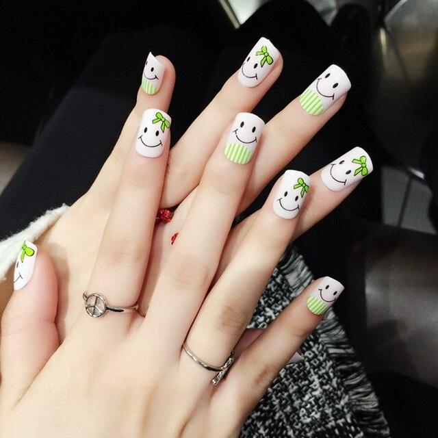 Cute Cartoon Nail Design Art Tips Pink Smile False Nails Medium Flat