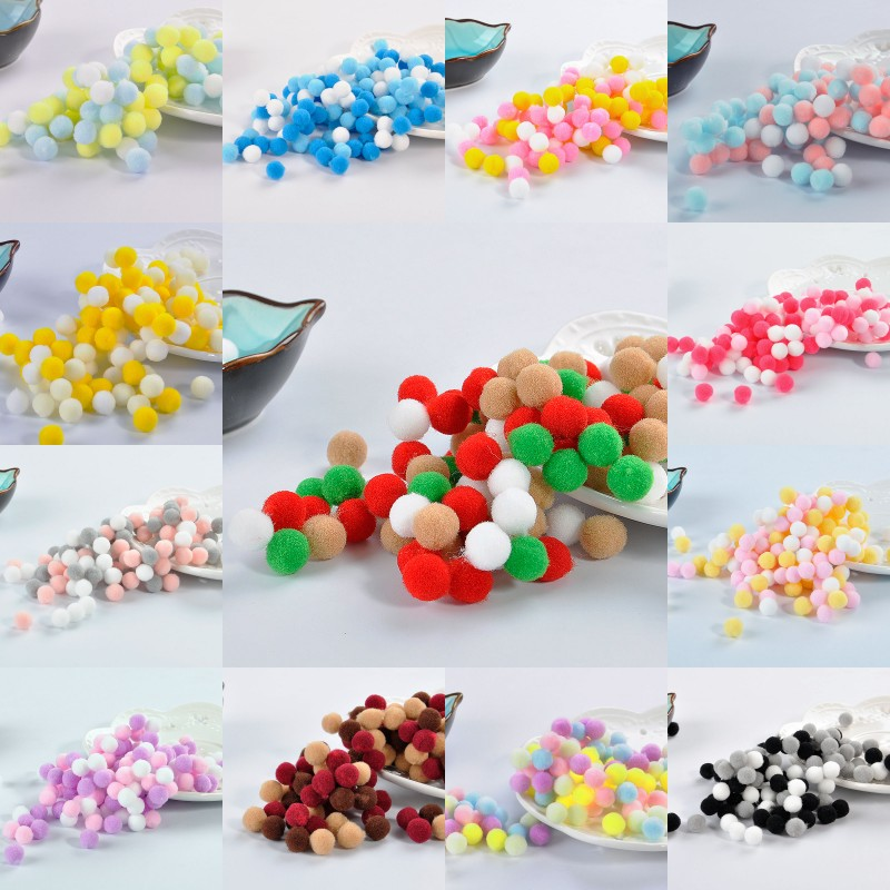 Pompom 8mm 10mm 15mm Mix Colors Pom poms Mini Fluffy Soft Fur Ball Handmade Kids Toys Wedding Decor DIY Sewing Craft Supplies in DIY Craft Supplies from Home Garden