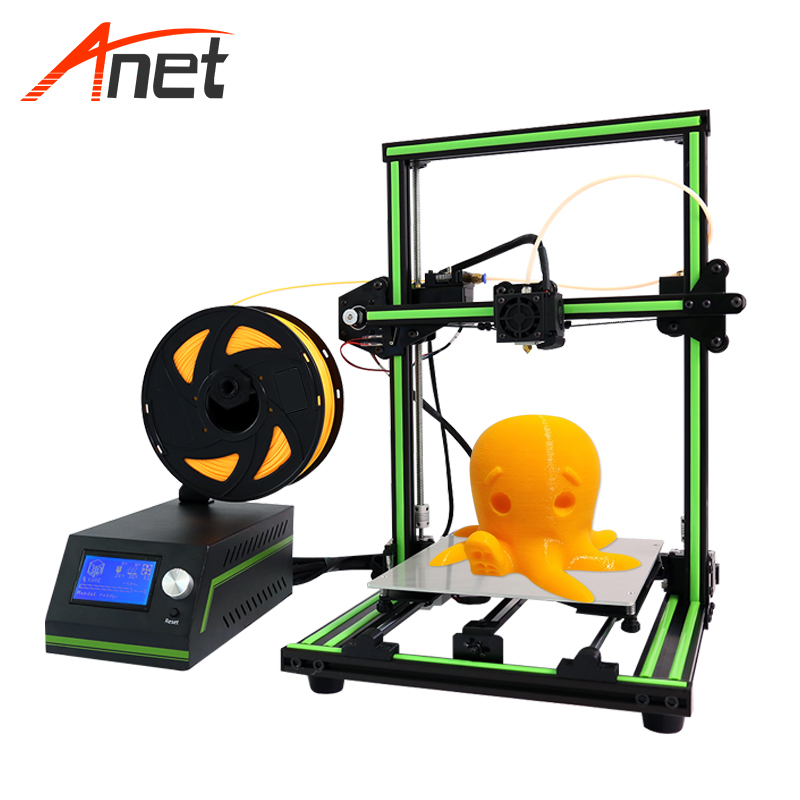 Anet E10 Aluminum Frame Large LCD Screen 3d Printer DIY Machine 22*27*30cm Printing Size Desktop 3d Printer For School Education promotion price mingda new glitar 6c 300 200 600mm big 3d printer machine large 3d printing machine with touch screen lcd