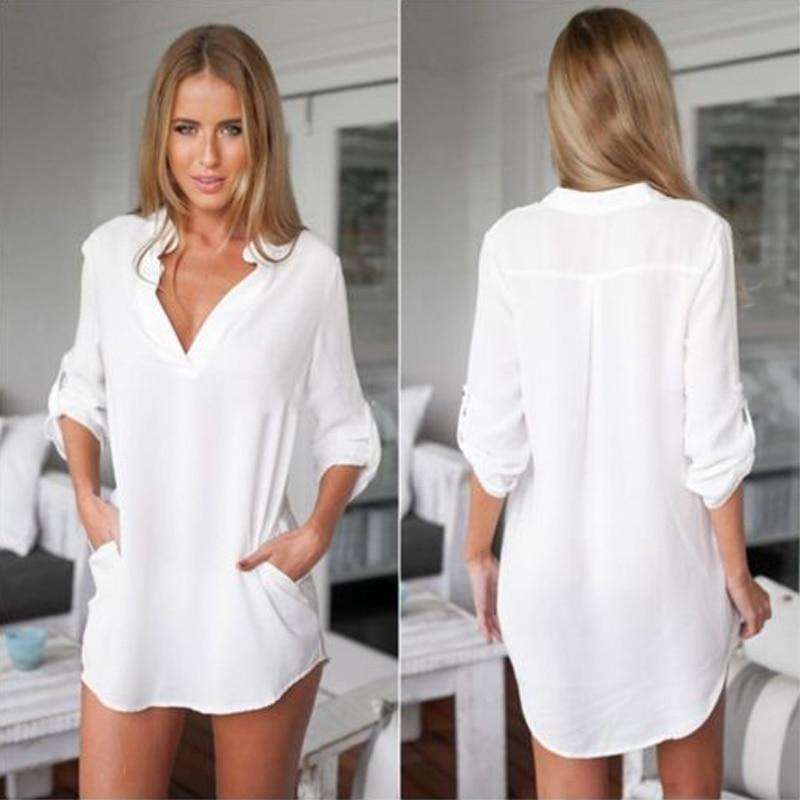 4a4fad05a Sexy moda mujeres sueltas gasa con cuello en V Tops camisetas de manga larga  camisas casuales 19 en Blusas y camisas de La ropa de las mujeres en ...