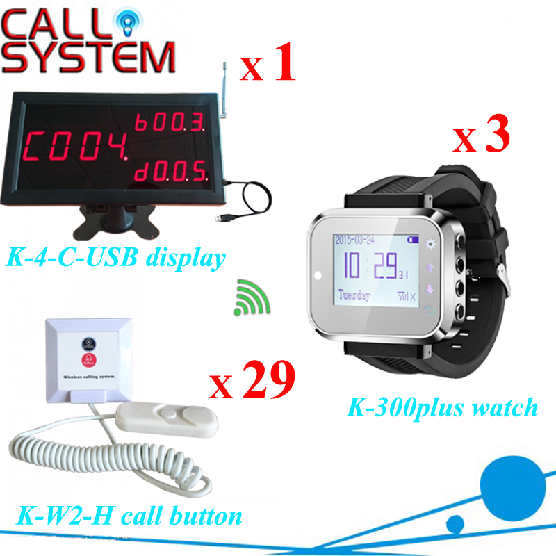 1 K-4-C-USB display receiver 3 wrist pager 29 bell buzzer for Hospital nurse calling bell system Wireless