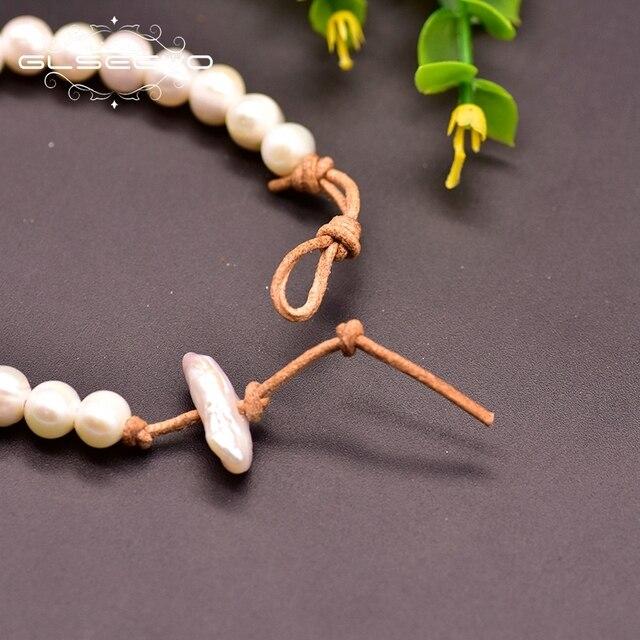 Фото браслет glseevo из натуральной кожи с пресноводным белым жемчугом