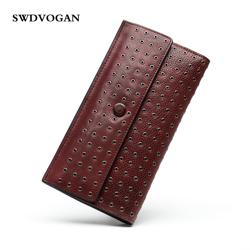 Classic Wallet Rivets Vintage Genuine Cow Leather Women Wallets Clutch Bag Purse Lady Cowhide Wallet Female Card Holder Handmade встраиваемая вытяжка mbs aralia 260 inox