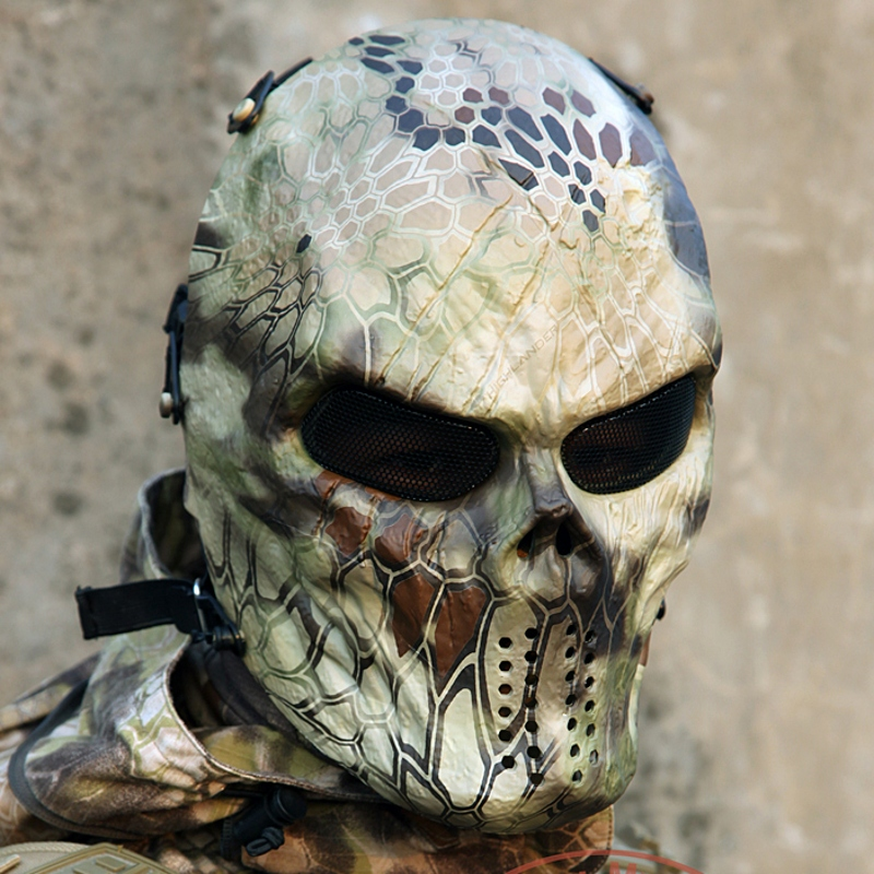 Highland Airsoft Paintball Skull Full Face Protection Mask For Outdoor Wargame Tactical Gear CS War
