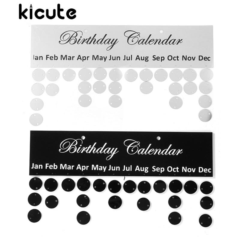 Kalender Kicute 1 Stück Silber Schwarz Geburtstag Kalender Board Diy Familie Geburtstag Kalender Zeichen Spezielle Termine Planer Bord Hängen Dekor Geschenk