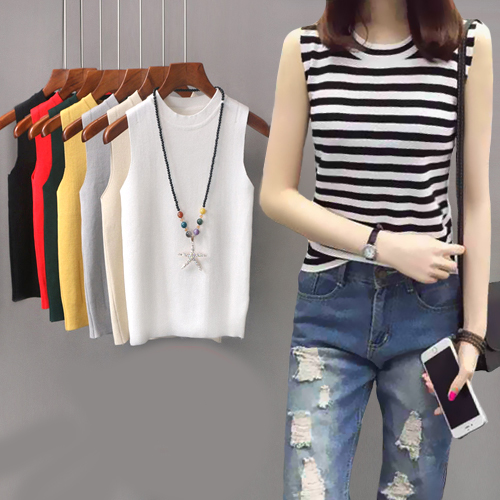 New 2018 Summer Women Shirts Sleeveless Skinny Knitting O-Neck Blouse Shirt White Gray Black Red Yellow Dark Green Apricot A211