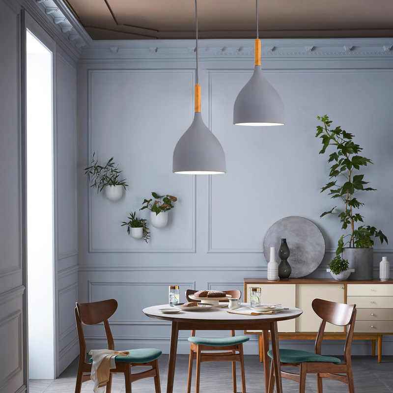 Warnawarni Kilau Lampu Liontin Restoran Kayu Gantung Lampu Dapur Lampu Lampu Modern E27 LED Loft Hanglamp