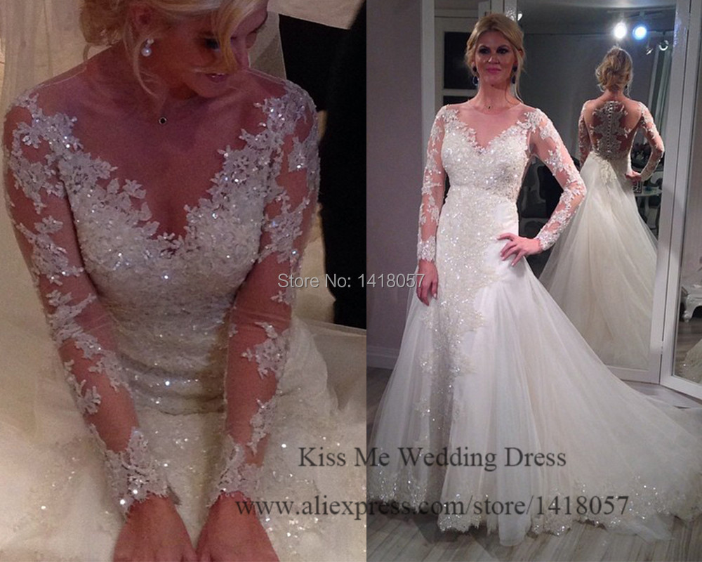 Bling wedding dresses with sleeves