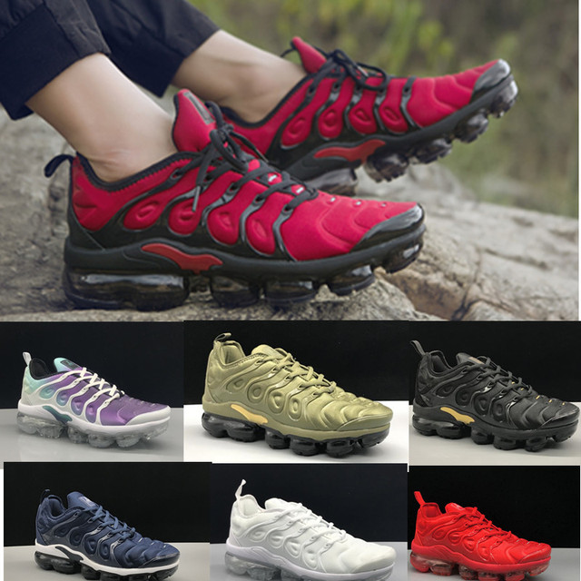 cheap for discount 33a67 2d1f7 free shipping 2019 Tn Plus Vapormax Running Shoes Men and Women Athletic  Sneakers Outdoor Sports Shoe Black White RedSize 36-45