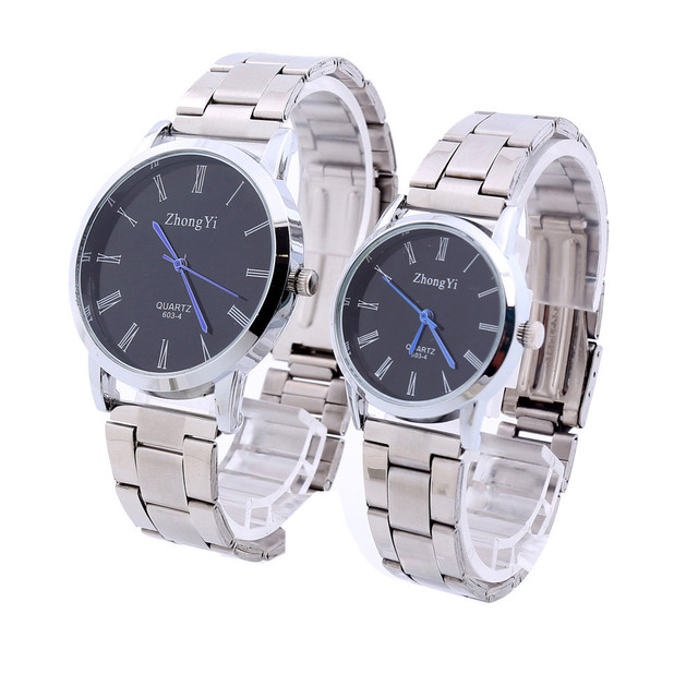 Fashion Man Women Couple Stainless Steel Analog Quartz Wrist Watch 2017 Lovers M