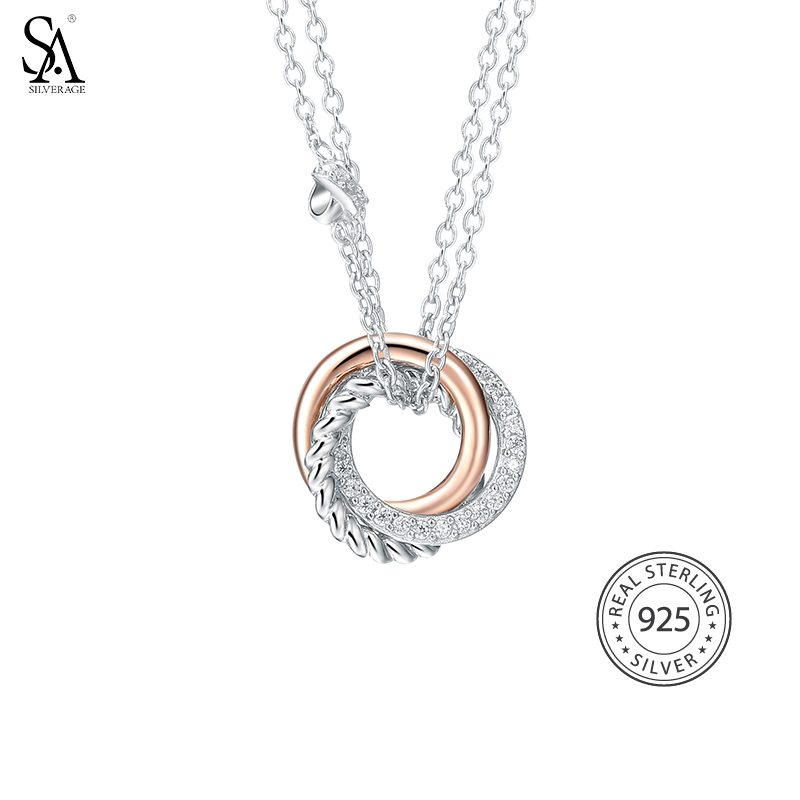 SA SILVERAGE Real 925 Sterling Silver Long Necklaces