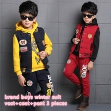 Новые дети мальчика костюм одежда для возраста 5-13 год дети мальчик зимняя одежда детей большой тигр pattern одежда 3 шт./компл. 26162B