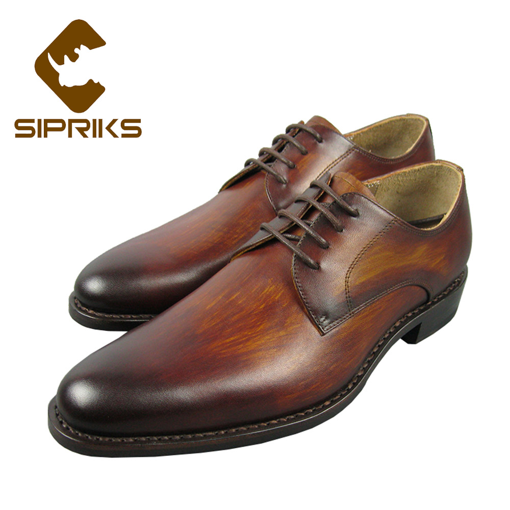 Sipriks Luxury Patina Leather Shoes Mens Goodyear Welted Dress Shoes Real Leather Yellow Brown Derby Shoes Vintage Suits Shoes sipriks genuine leather yellow brown oxfords shoes for men luxury brand custom goodyear welted shoes vintage carved dress shoes