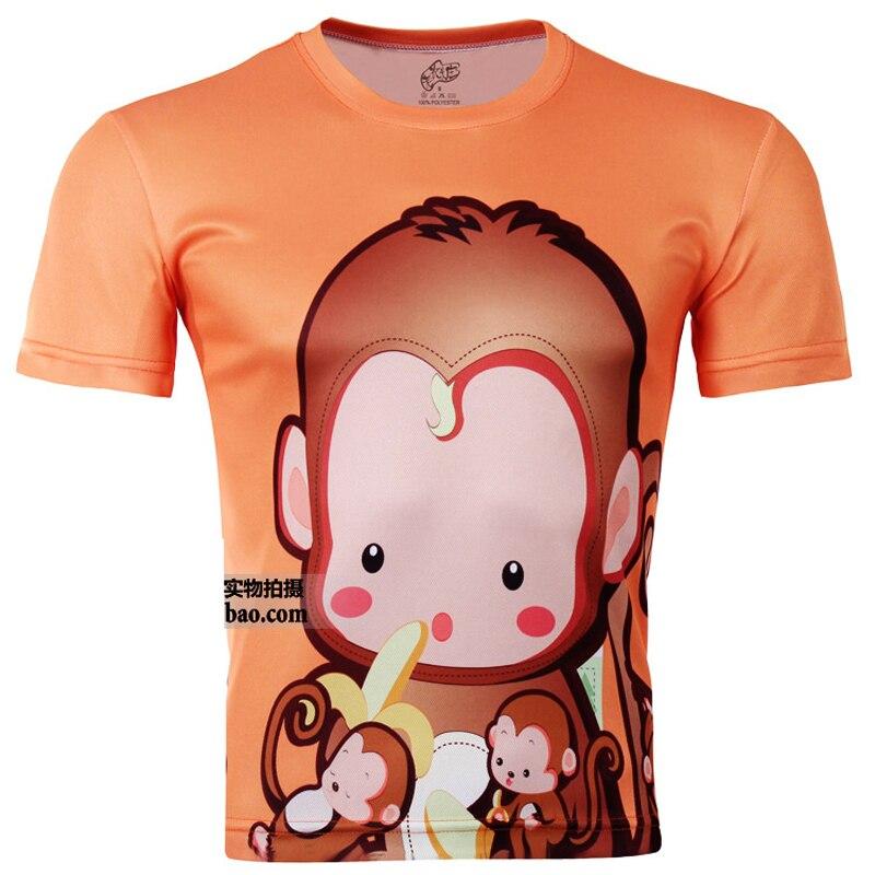 2014Hot продажа высокое качество непослушный обезьяна печатных 3D футболки, Оранжевый панк 3D с коротким рукавом футболку xs-xxl 6XL / спортивная футболка