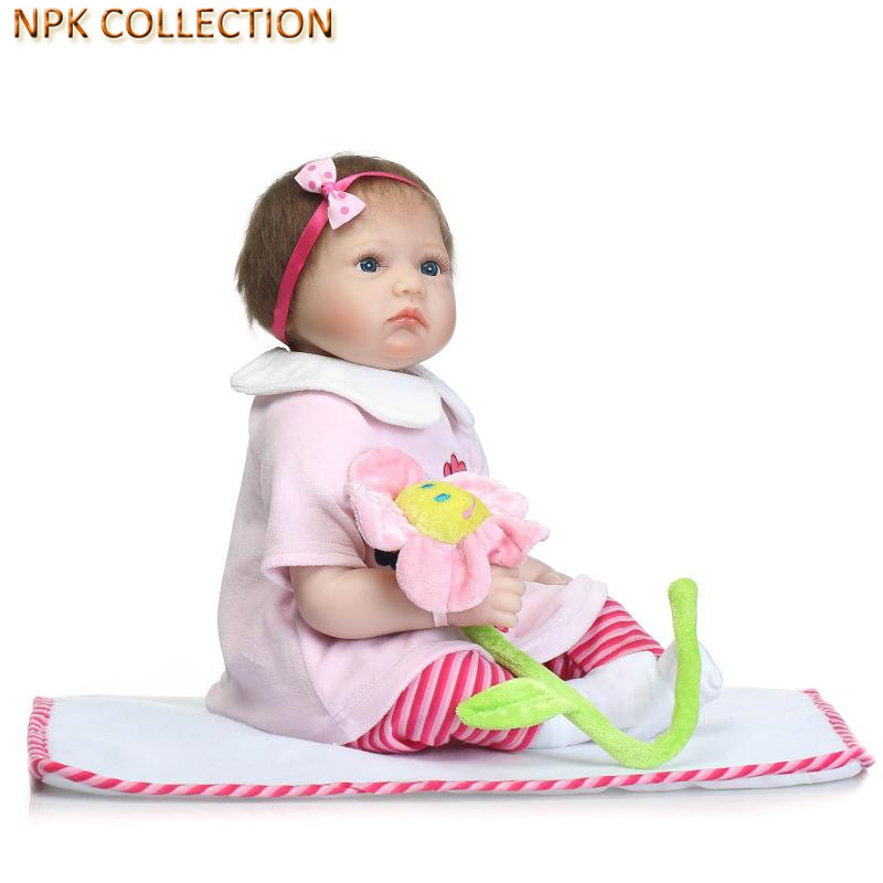 NPK COLLECTION Real Silicone Doll Reborn Babies Bonecas 20 Inch Lifelike Reborn Baby Alive Doll Soft Toys with Clothes Headdress