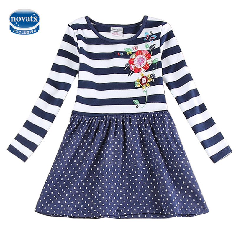 Kids Long Sleeve Embroidery New Fashion Casual Girls Dresses Spring Autumn O-neck Lolita Style Baby Girl Dresses
