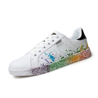 Girls Brand White Shoes Mix Colors Ink Painting Style Woman Shoes Solorful White Ladies Shoes Plus