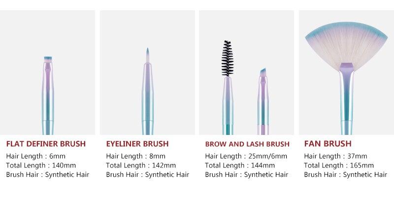 sombra compõem escovas cosméticos macio cabelo sintético