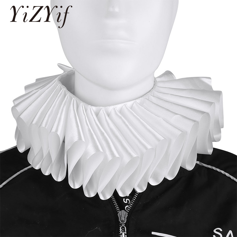 Fake Neck Collar Renaissance Elizabethan Ruffled Neck Collar Clown Satin Choker Victorian Costume Halloween Cosplay Accessories
