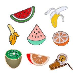 Милые Мультяшные броши в виде фруктов, летние эмалированные булавки в форме сока, банана, арбуза, апельсина, значок на пуговицах для одежды, ...