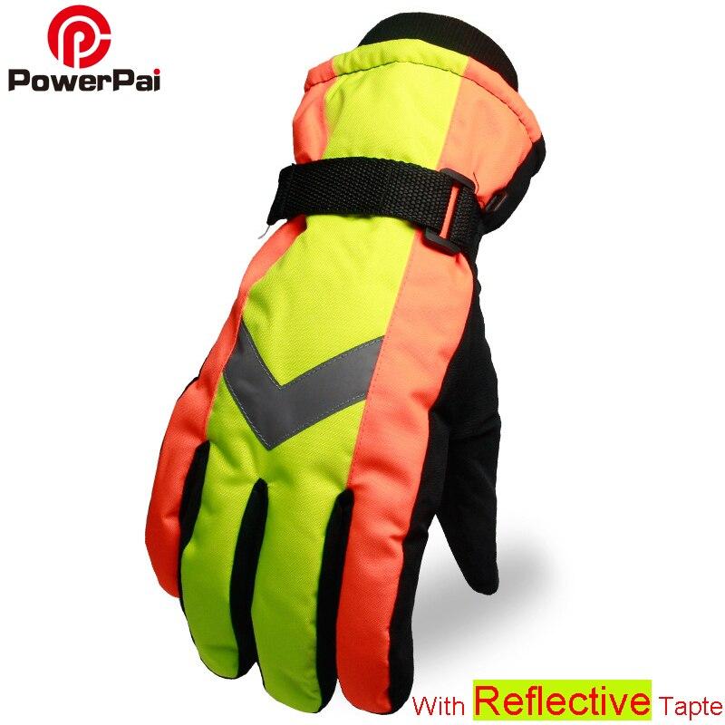 New Winter Warm Snowboard Ski Gloves Waterproof Light Reflective Wind Stopper Gants Moto Gloves For Police Men Sanitation Worker