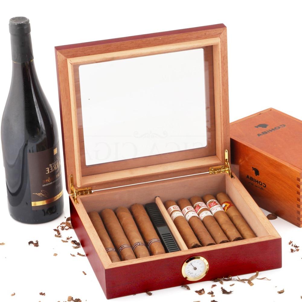 Cedar Wood Travel Cigar Humidor Box With Humidifier Hygrometer Humidor Cigar Box Case Humidors Fit 20-30 COHIBA Cigars