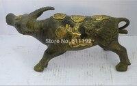 Freies Verschiffen Asiatischen Antiquitäten Imitation home FengShui dekoration Buffalo statue metall handwerk  Stier skulptur-in Statuen & Skulpturen aus Heim und Garten bei