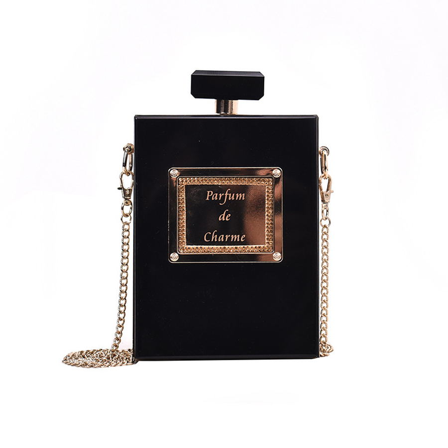 Fashion Black Perfume Bottle Design Pu Leather Chains Women Shoulder Bag Ladies Party Casual Flap Crossbody Mini Messenger Bag