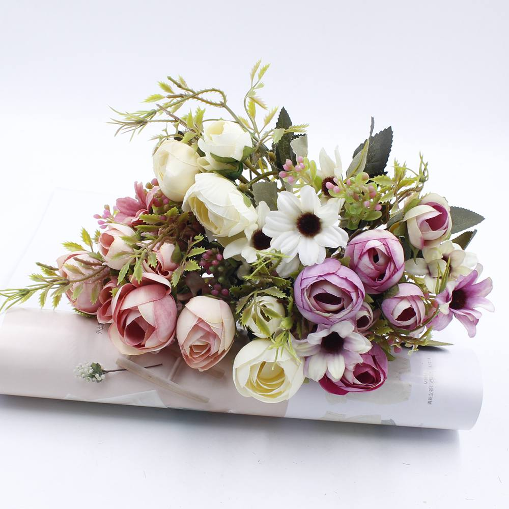 1 Bouquet de fleurs artificielles pas cher fleur de soie