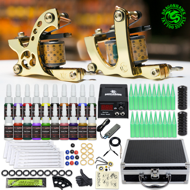 Complete Beginner Tattoo Kit Set 2 Machine Guns 20 Color Inks Mini Tattoo Power Supply Grips Needles Tips Supplies In Box