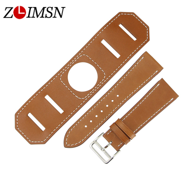 ZLIMSN Men Women Sports Genuine Leather Watch Bands Strap Black Brown Replacement 22 24mm Watchbands 316L Stainless steel Buckle zlimsn high quality thick genuine leather watchbands 20 22 24 26mm brown watch strap 316l brushed silver stainless steel buckle