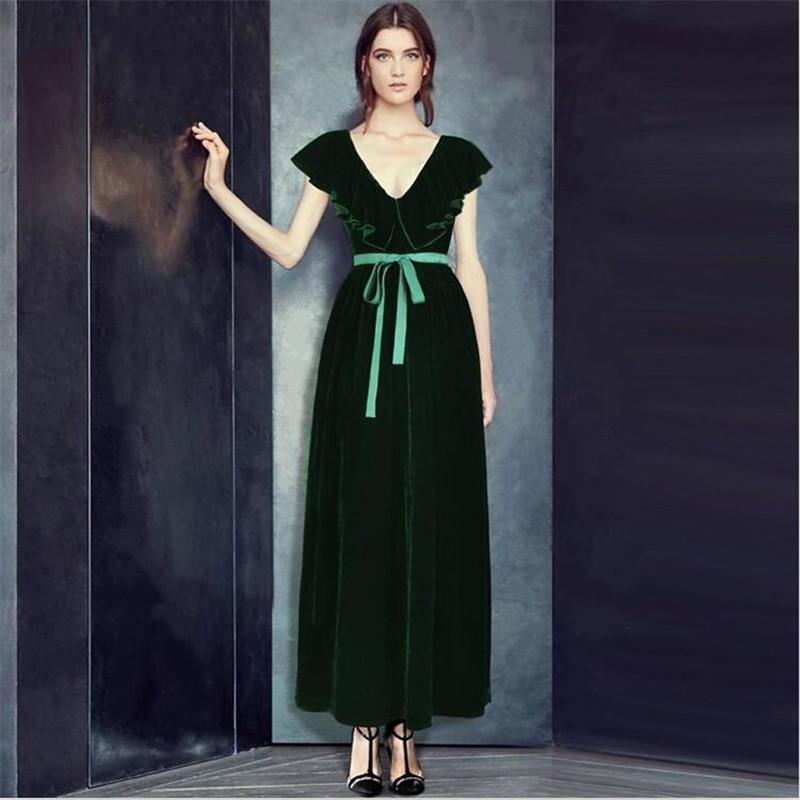 2019 femmes printemps automne longue robe vintage velours papillon coller profonde col en v robe grande taille velours vêtements M-7XL