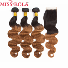 Miss Rola Hair Pre colord Indian Body Wave Hair Weaving 3 Bundles With Closure T1B 30