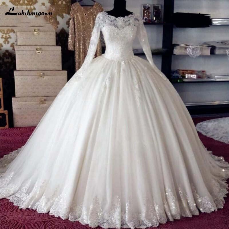 Blanc Robes De Mariée Robe De Noiva robe de Bal À Manches Longues Perles Dentelle Longue Formelle De Mariée Robes De Mariée