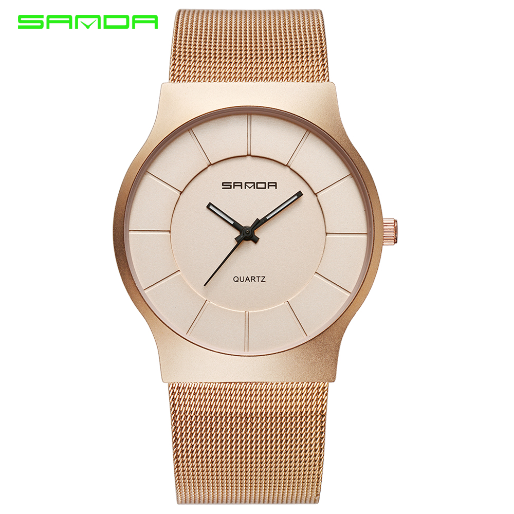 2017 New SANDA Mens Watches Top Brand Luxury Quartz Watch Men Stainless Steel Mesh Band Business Wrist Watches montre homme saat new arrival longbo 5072 fashion women men quartz watch stainless steel mesh band simple wrist wacthes for lover luxury top brand