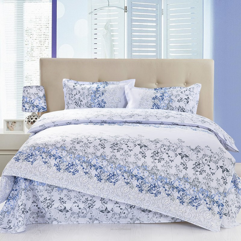 4pcs Twin Full Size Floral Bedding White Bedding Luxury Bedding Blue