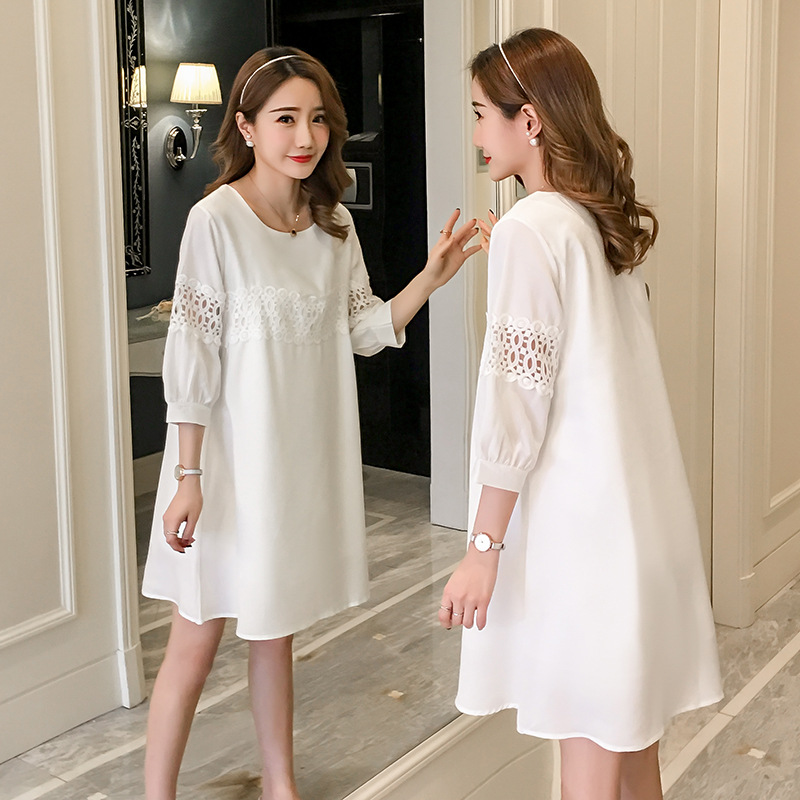 Maternity Dress Clothing 2018 Spring Autumn New Korean Loose White Chiffon Dress Pregnancy Clothes For Pregnant Women Dresses stylish backless loose fitting chiffon blouse for women