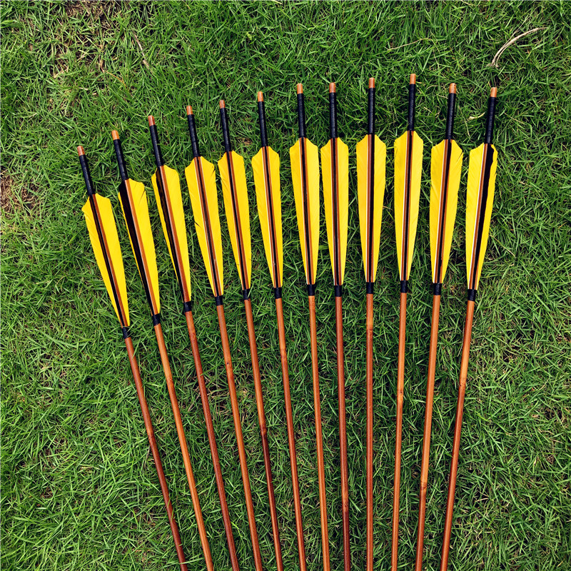 12pcs yellow black Bamboo Arrows Hunting Archery Turkey Feathers For recurve longbow