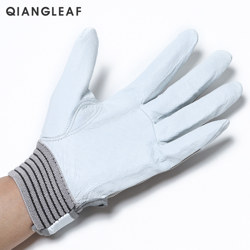 Image 3 - QIANGLEAF Brand Hot Sale D Grade Leather Glove Work Gloves Wear resistant Safety  Working Gloves Men Mitten Free Shipping 508-in Safety Gloves from Security & Protection
